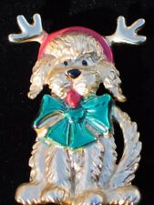 """CHRISTMAS DOG DRESSED UP CHRISTMAS REINDEER DOG PUPPY PIN BROOCH JEWELRY 2.25"""""""