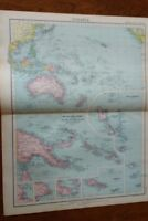 1923 Map Of Oceania Protestant Mission Stations  - John Bartholomew