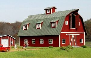 """HO Scale - COUNTRY BARN """"LASER CUT WOOD Building KIT""""  AME-119"""
