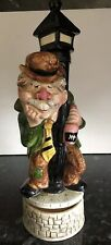 Vintage Musical Wine Decanter / Drunk Man Leaning On Lamp Post / Ceramic / 13ins