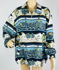 Vintage Alfred Dunner Womens Jacket Size 18 Blue Equestrian Print Zip Front