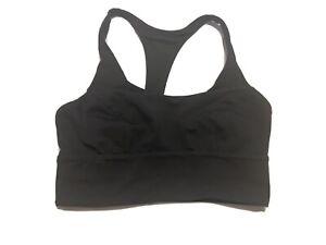 Lululemon Sports Bra Power Y luxtreme size 6 Black Yoga Fitness Running