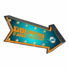 """Miami Dolphins Arrow Marquee Sign - Light Up - Room Bar Decor NEW 18"""""""