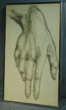 Vintage Old Master like Drawing Male Hand Masculine Hairy Arm Mid Century Modern