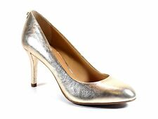 Michael Kors MK Flex Pump Pale Gold Metallic Leather Almond Toe Heel New Size 10