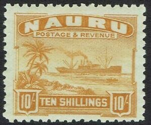 NAURU 1924 SHIP 10/- ON ROUGH PAPER