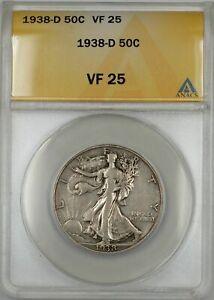 1938-D Walking Liberty Half Dollar Coin 50C ANACS VF 25