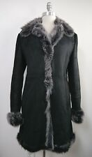 SEARLE black suede with gray shearling fur long jacket coat size 4