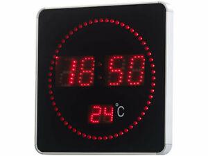 Horloge murale radio-pilotée à LED rouges et affichage de la température - Luna