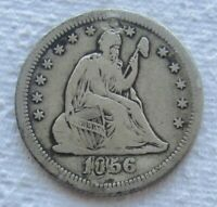 1856-S/S Arrows Seated Liberty Quarter Rare Date Fine Detail Plugged S Over S