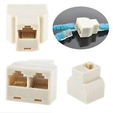 2X Network LAN Port 1 to 2 Socket Ethernet Splitter Rj45 Adaptor Pc Connector