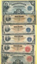 6 Philippines 1 & 2 Pesos Notes 4 Victory Series #66 & 1-1936, 1-1941 Series