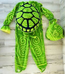Child Green and Yellow Turtle Halloween Costume with Head Piece Shell  Handmade