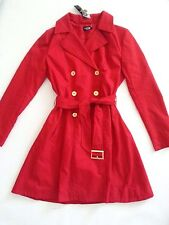 NWT bebe red zipper long sleeve belt flare top dress coat jacket trench S Small