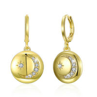 Crystal Star and Moon Earrings Rhinestone Long Pendant Dangle Fashion Jewelry