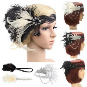 Sequin Feather Flapper Headband 1920s Great Gatsby Headdress Headpiece Vintage