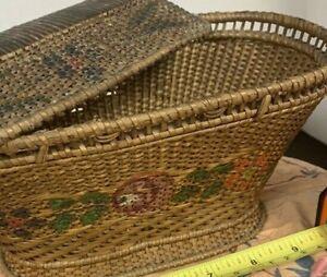 victorian wicker basket bag floral flower primitive antique vintage woven tiny
