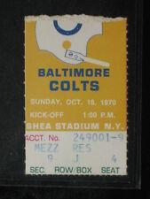 Oct 18, 1970 Baltimore Colts at New York Jets Ticket Stub Colts 29-22 Joe Namath