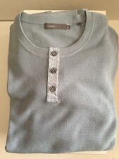 VINCE BLUE COTTON CASHMERE THREE BUTTON HENLEY THERMAL PULLOVER SIZE XL $275
