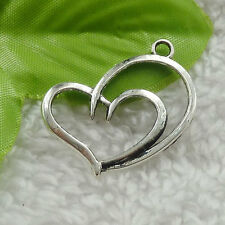 160pcs tibet silver heart charms 32x25mm B-4614 Free Ship