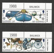 Guernsey 1988 Europa/Transportation-Att ractive Topical (381-84) Mnh