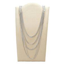"""NWT FOSSIL Brand """"Modern Heirloom"""" Silver-Tone Layered Chain Long Necklace $198"""
