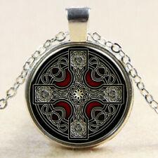 "CELTIC CROSS CRUCIFIX  Pendant 20"" Sterling Silver 925 necklace chain female"