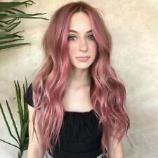 Women Ladies Long Curly Wigs Gradient Pink Wavy Natural Ombre Full Cosplay Hair