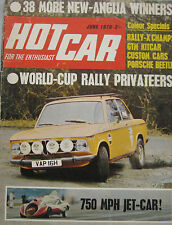 Hot Car magazine 06/1970 featuring Ford Escort road test, GTM, Green Monster