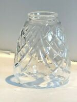 """New: 24% Lead Crystal Glass Handmade Shade 2-1/4"""" Fitter 5""""h x 3-3/4""""d OLD STOCK"""
