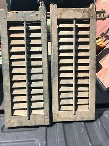 "PaiR c1890 gorgeous blue gable end louvered house shutters 26"" x 10"" x 1 3/8"""