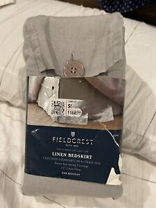 """Fieldcrest Linen Bedskirt King Cashmere Gray with 15"""" Drop"""