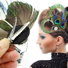 Peacock Feather Fascinator Hair Clip Wedding Gatsby Party Vintage Headpiece HOt