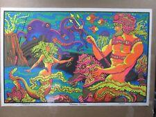 Large Vintage Black Light Poster 1971 Neptune Kingdom Inv#G993