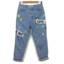 $95 Topshop Moto Mom Jeans Size 28 Bleach Blue LOVE ME Embroidery High Rise