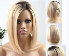 "10"" 7A Brazilian #1B/613 Ombre Asymmetrical Blonde Bob Style Lace Front Wig"
