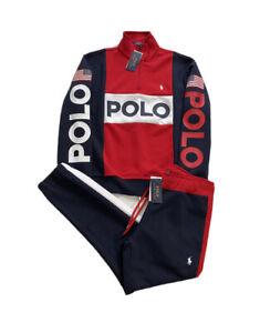 Polo Ralph Lauren USA Spell Out Colorblock Double Knit 1/4 Zip Tracksuit Men's M