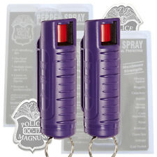 2 PACK Police Magnum PEPPER SPRAY Mace with PURPLE Molded KeyChain 1/2oz OC-17