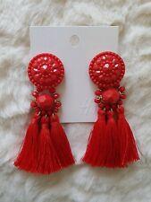 H&M Red Tassel Earrings Bloggers Favourite