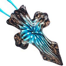 Gold Aqua Flower Cross Lampwork Glass Murano Bead Pendant Ribbon Wax Necklace