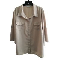 Susan Graver Peachskin Solid Roll Tab Sleeve Shirt Blouse Plus Size 2X 22W 24W