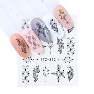 Floral Nail Art Water Transfer Decal Sticker Flowers Black Decor Leaves