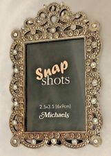 "MICHAELS Silvertone Metal 3.5X5.25"" Rhinestone Frame Holds 2.5X3.5"" Photo"