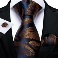 USA Blue Gold Feather Pattern Silk Tie Set Mens Necktie Hanky Cufflinks Wedding