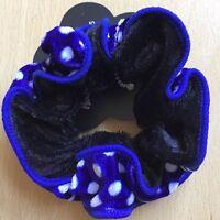 A Black Blue And White Spot Velvet Ruffle Scrunchie Ponytail Band / Bobble