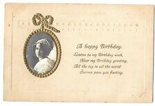 Beautiful Woman vintage Birthday Greetings embossed Amag Postcard