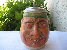 ANTIQUE GERMANY SIGNED RZ E.BAY CHARACTER LIDDED BEER STEIN/MUG/TANKARD