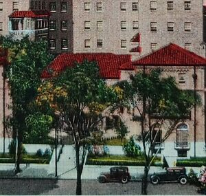 c1930 Downtown YMCA Dayton Ohio Linen Postcard Vintage Cars Street View