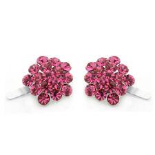 Hand Made Hair Jewelry swarovski crystal Cluster Magnet Barrette Set Of 2 Pink