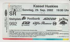 Sammler Used Ticket / Entrada Frankfurt Lions v Kassel Huskies 29-09-2002